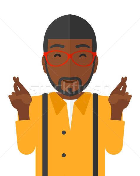 Umutlu adam parmaklar gözleri kapalı vektör dizayn Stok fotoğraf © RAStudio