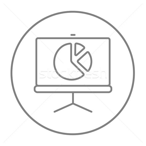 Scherm cirkeldiagram lijn icon web mobiele Stockfoto © RAStudio
