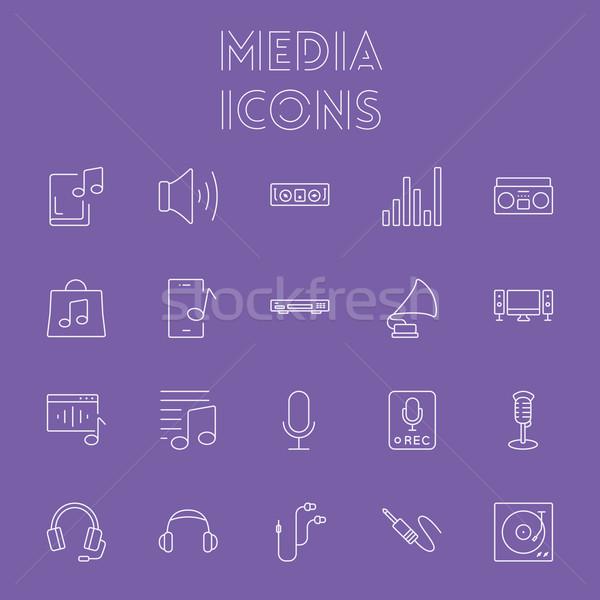 Stockfoto: Media · vector · licht · paars · icon