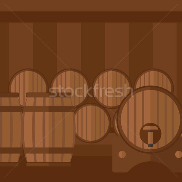 вино погреб вектора дизайна иллюстрация квадратный Сток-фото © RAStudio