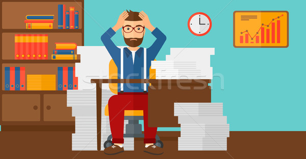 Despair man sitting in office. Stock photo © RAStudio