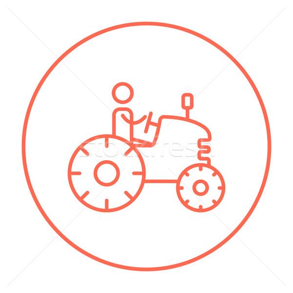 Man driving tractor line icon. Stock photo © RAStudio