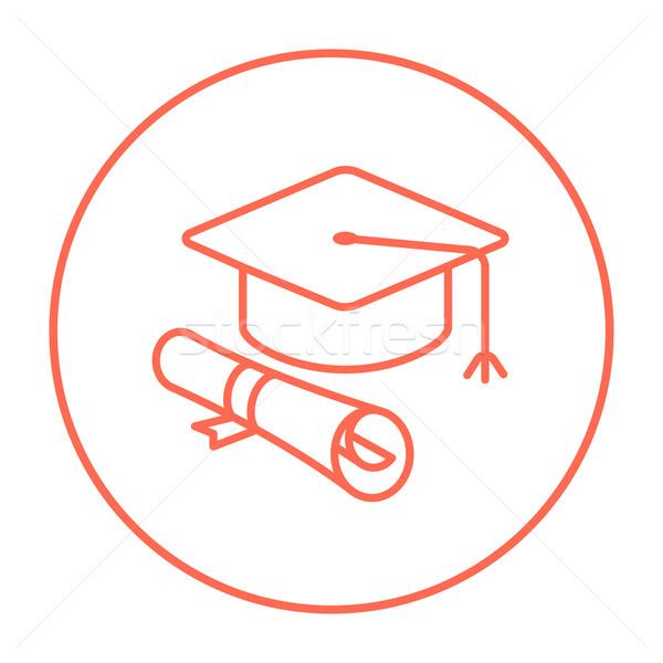 Graduação boné papel rolar linha ícone Foto stock © RAStudio