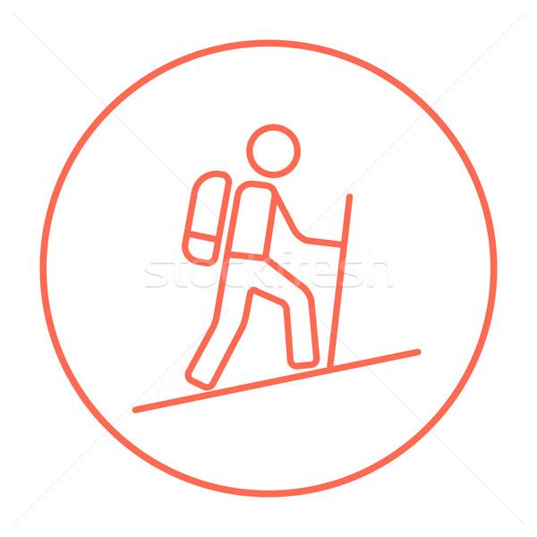 Toeristische backpacker lijn icon web mobiele Stockfoto © RAStudio