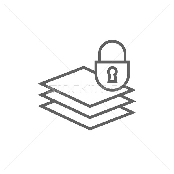 Stack of papers with lock line icon. Stock photo © RAStudio