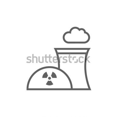 Jądrowej elektrownia line ikona internetowych Zdjęcia stock © RAStudio