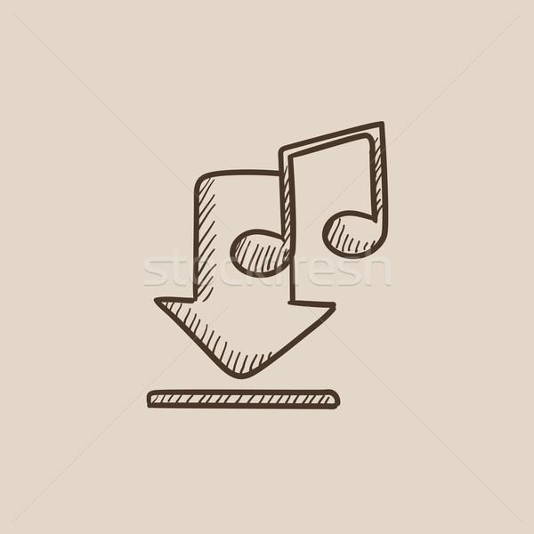 Letöltés zene rajz ikon háló mobil Stock fotó © RAStudio