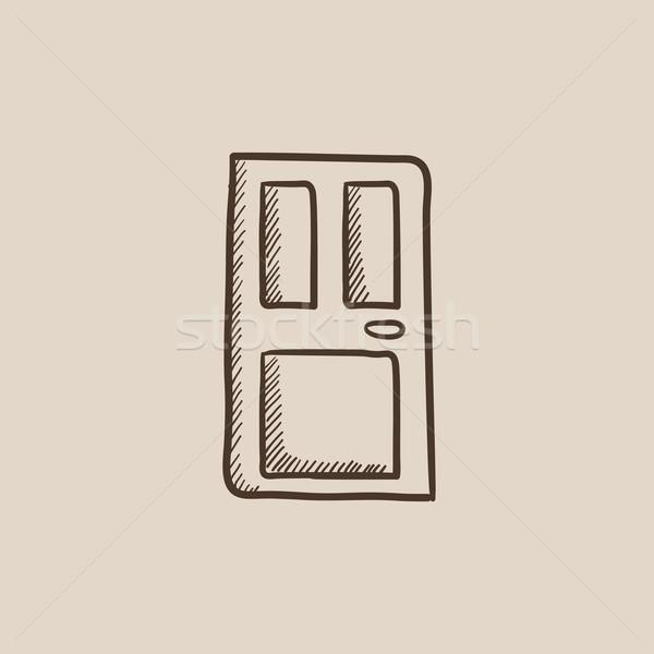 парадная дверь эскиз икона веб мобильных Инфографика Сток-фото © RAStudio