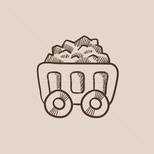 горно уголь корзины эскиз икона веб Сток-фото © RAStudio