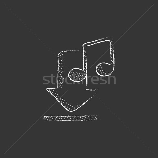 Download music. Drawn in chalk icon. Stock photo © RAStudio