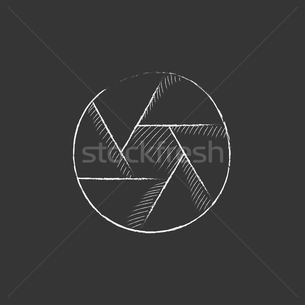 Camera shutter. Drawn in chalk icon. Stock photo © RAStudio