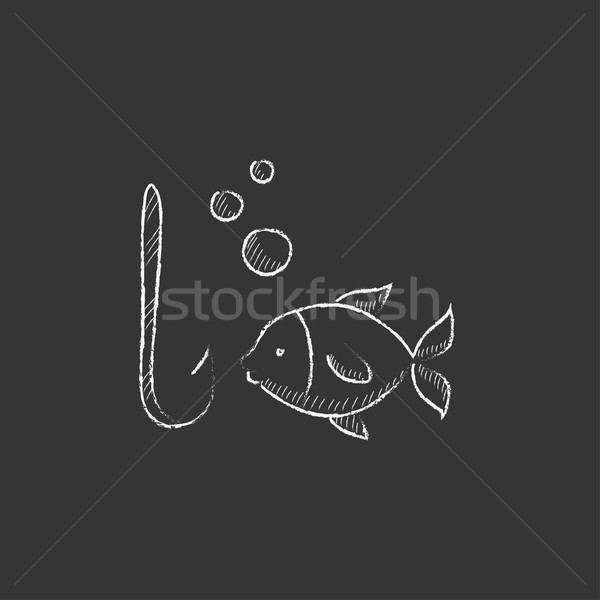 Fish with hook. Drawn in chalk icon. Stock photo © RAStudio