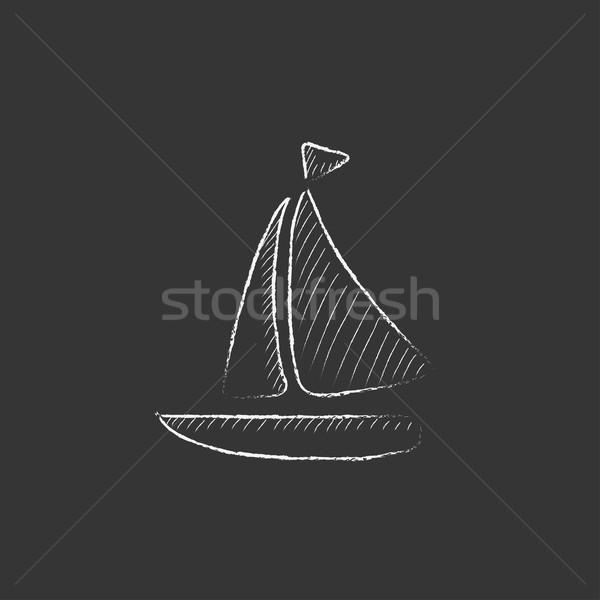 Voilier craie icône dessinés à la main vecteur Photo stock © RAStudio