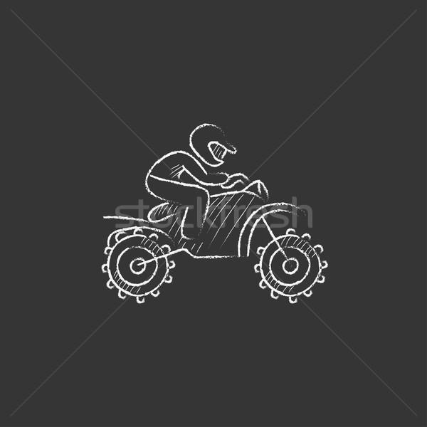 Man riding motocross bike. Drawn in chalk icon. Stock photo © RAStudio