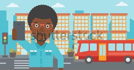 Filmcamera naar stad vector ontwerp Stockfoto © RAStudio