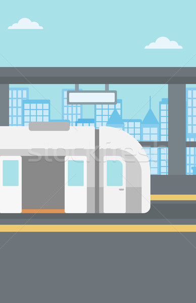 Modern vasútállomás vektor terv illusztráció függőleges Stock fotó © RAStudio