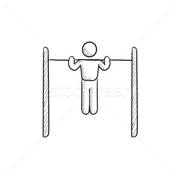 体操選手 行使 バー スケッチ アイコン ベクトル ストックフォト © RAStudio