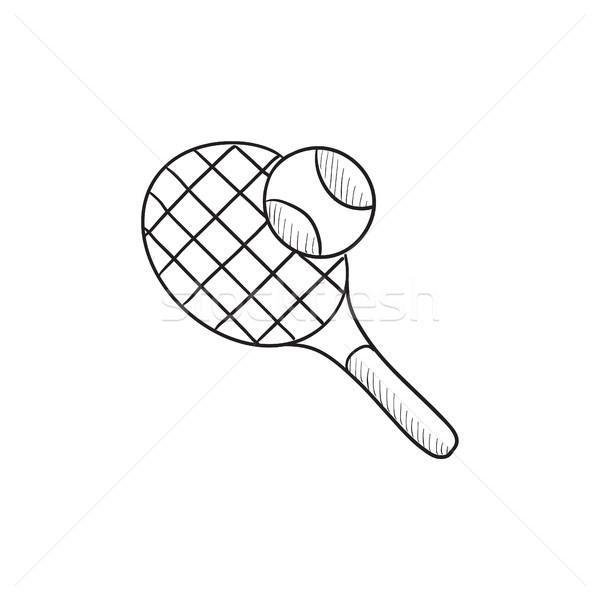 Tennisracket bal schets icon vector geïsoleerd Stockfoto © RAStudio