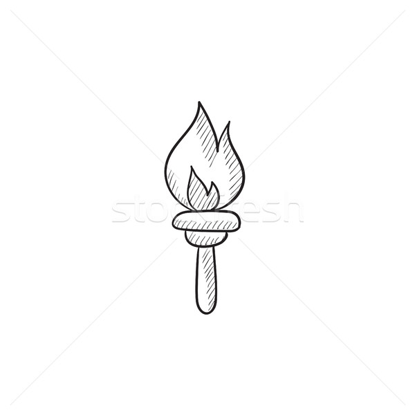 Burning olympic torch sketch icon. Stock photo © RAStudio