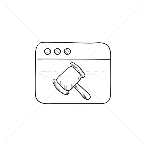 ブラウザ ウィンドウ 裁判官 ハンマー スケッチ アイコン ストックフォト © RAStudio