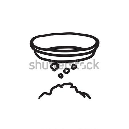 Bowl for sifting gold sketch icon. Stock photo © RAStudio