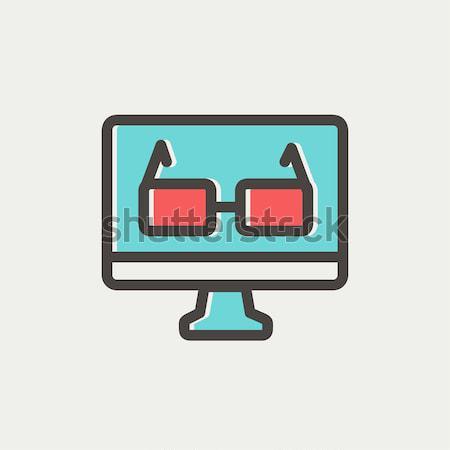 очки Компьютерный монитор эскиз икона вектора изолированный Сток-фото © RAStudio