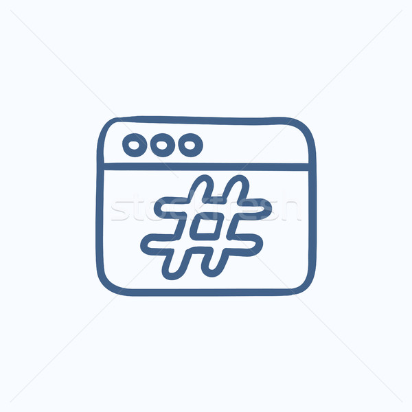 Stock photo: Browser window with hashtag sketch icon.
