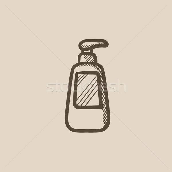 Bottle with dispenser pump sketch icon. Stock photo © RAStudio