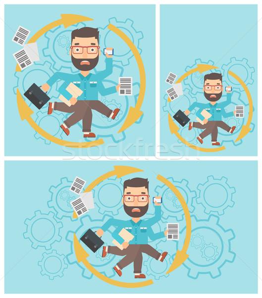 Biznesmen wielozadaniowość wiele nogi ręce Zdjęcia stock © RAStudio
