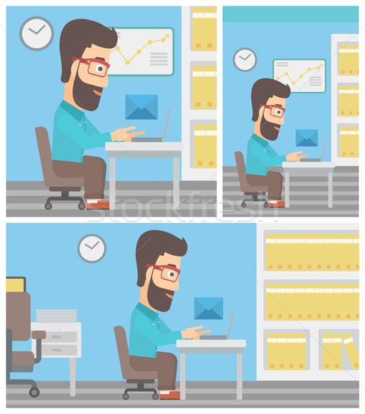Işadamı e-mail genç çalışma Stok fotoğraf © RAStudio