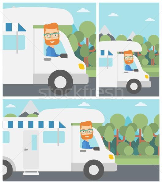 человека вождения Motor домой молодые Сток-фото © RAStudio