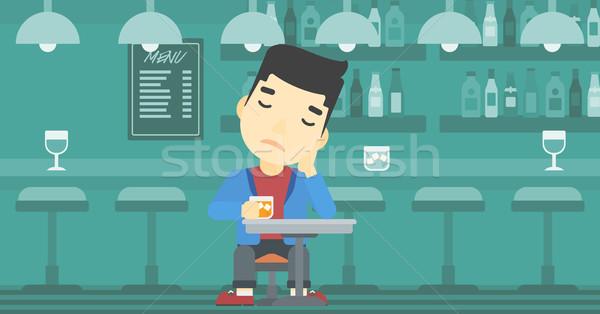 男 飲料 バー アジア 悲しい 座って ストックフォト © RAStudio