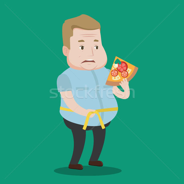 Férfi mér derék kövér férfi szelet pizza Stock fotó © RAStudio