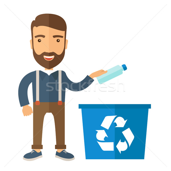 Man throwing plastic container into recycle can Stock photo © RAStudio