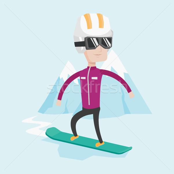 молодым человеком сноуборд кавказский человека снега горные Сток-фото © RAStudio