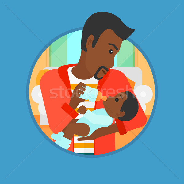 Father feeding baby vector illustration. Stock photo © RAStudio