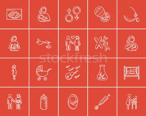 Maternity sketch icon set. Stock photo © RAStudio