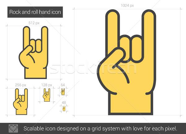 Rock and roll hand line icon. Stock photo © RAStudio