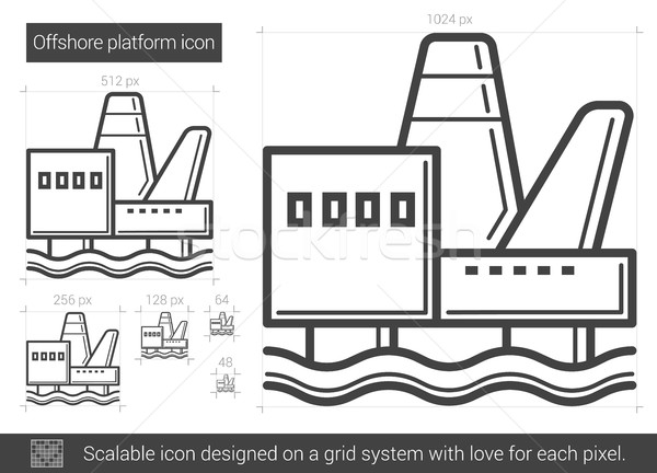 Offshore platform line icon. Stock photo © RAStudio