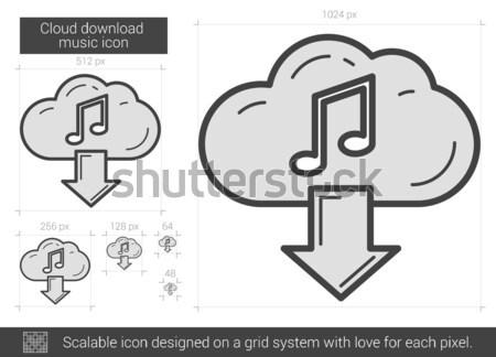 Cloud download music line icon. Stock photo © RAStudio