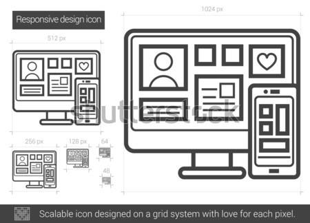 Responsivo projeto linha ícone vetor isolado Foto stock © RAStudio