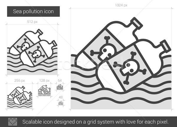 Sea pollution line icon. Stock photo © RAStudio