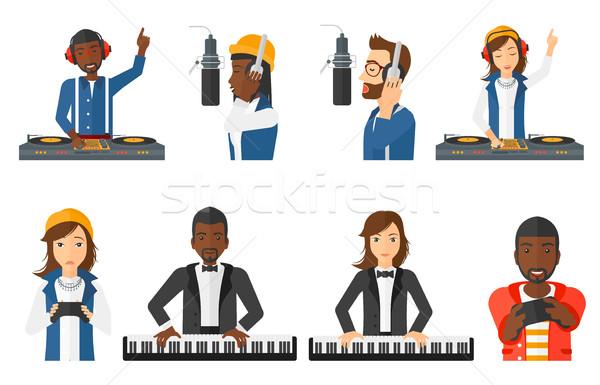 Vektor szett zenészek emberek betűk fiatal Stock fotó © RAStudio