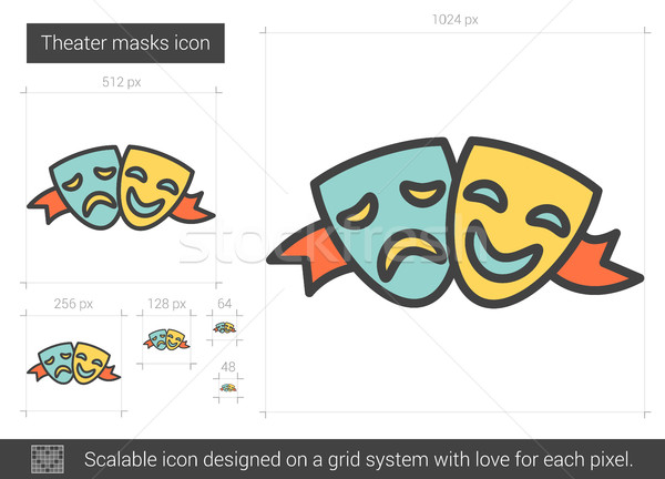Stock photo: Theater masks line icon.