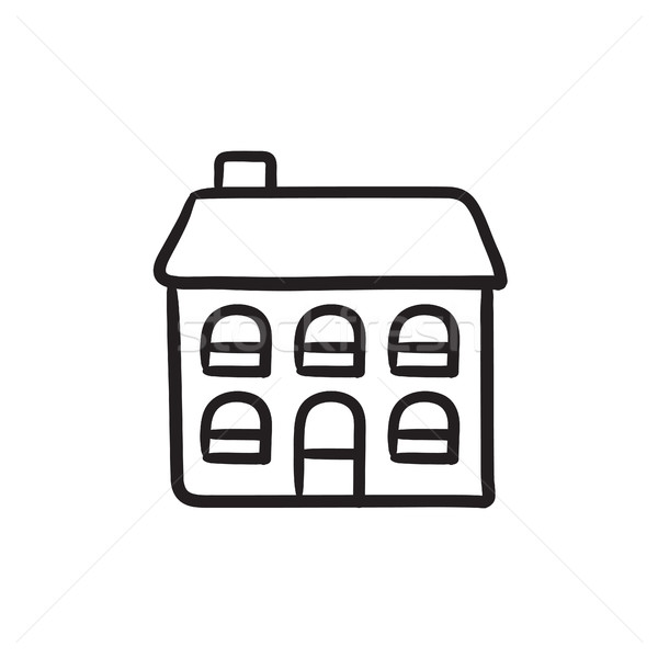 Deux maison individuelle croquis icône vecteur isolé Photo stock © RAStudio