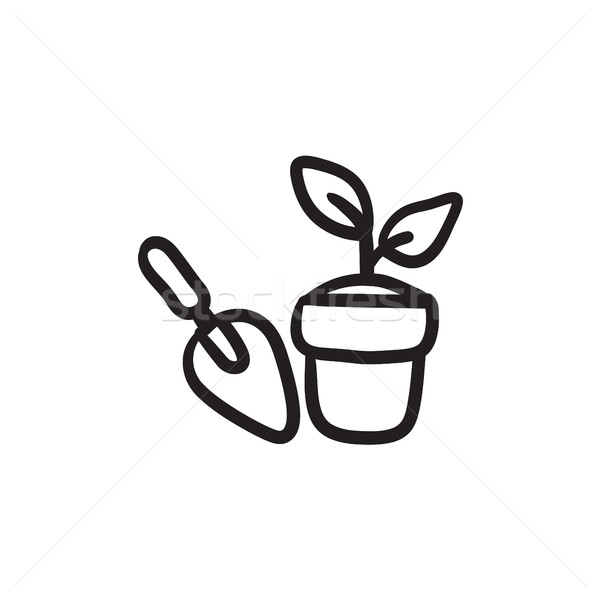 Garden trowel and pot with plant sketch icon. Stock photo © RAStudio