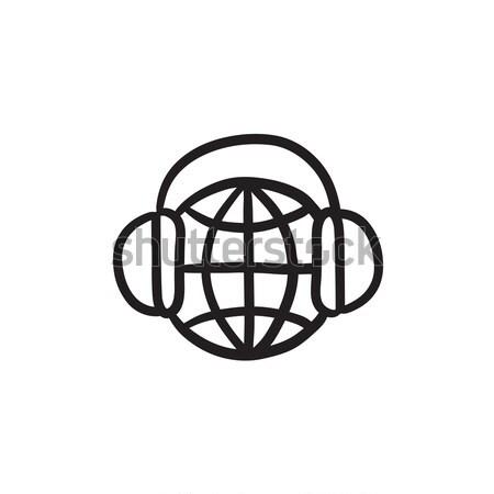 Stockfoto: Wereldbol · hoofdtelefoon · schets · icon · vector · geïsoleerd