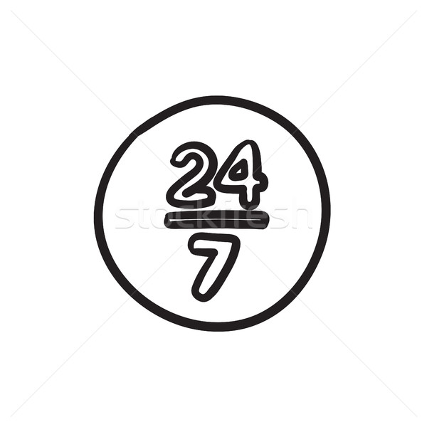 Open 24 hours and 7 days in wheek sketch icon. Stock photo © RAStudio