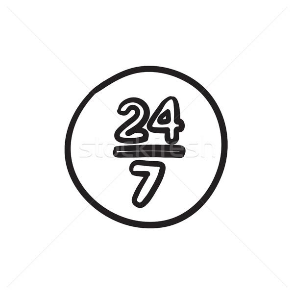 Açmak 24 7 gün kroki ikon imzalamak Stok fotoğraf © RAStudio