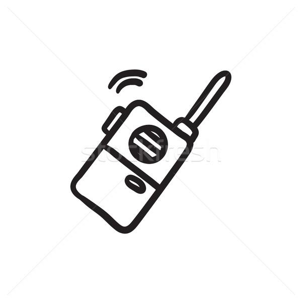 Portable Radio Set Skizze Symbol Vektor Stock foto © RAStudio